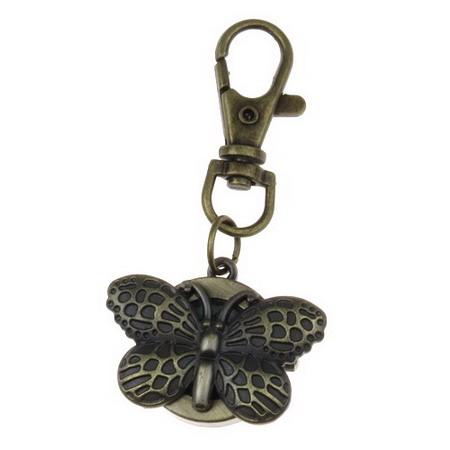 Ключодържател часовник отварящ метал цвят античен бронз 70 мм пеперуда