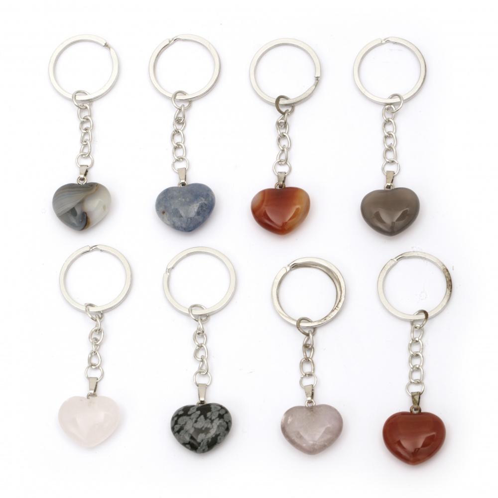 Μπρελόκ μεταλλικό καρδιά ημιπολύτιμη πέτρα 87mm διάφορα χρώματα