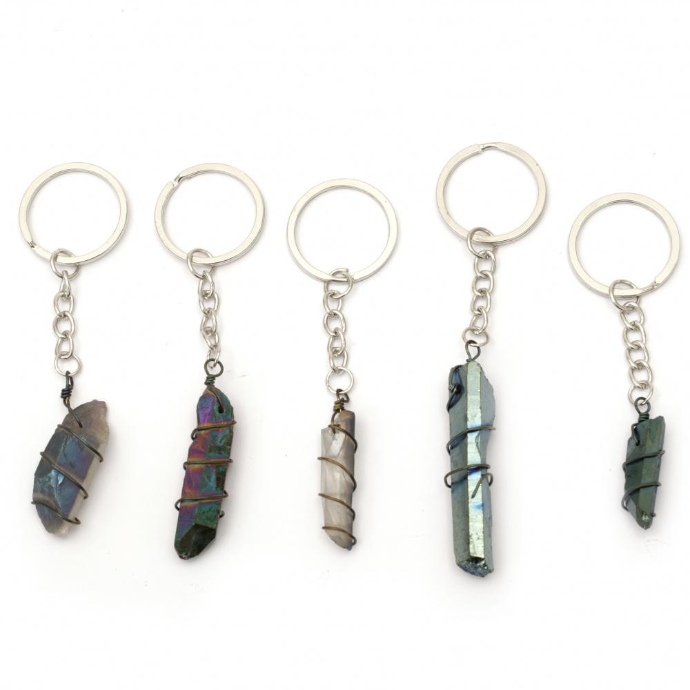 Μπρελόκ μεταλλικό ημιπολύτιμη πέτρα 102 ~ 116 mm διάφορα χρώματα