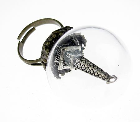 Пръстен Тибетски стил стъклен глобус Айфелова кула античен бронз 17 мм