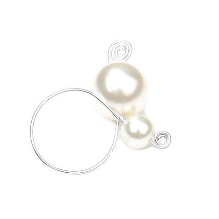 Пръстен метал перла пластмаса бяла 19 мм