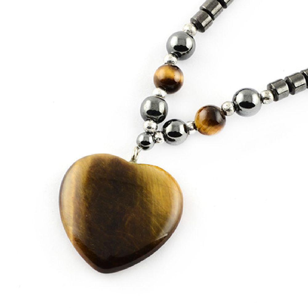 Гердан естествен камък ХЕМАТИТ немагнитен с висулка ТИГРОВО ОКО сърце -21~24 см