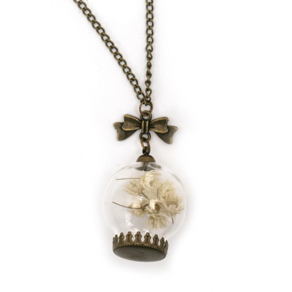 Гердан метал цинкова сплав със сухи цветя и перли цвят антик бронз ± 55 см