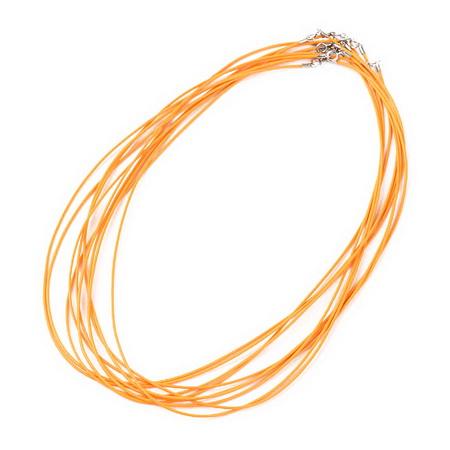 Гердан шнур Корея 1 мм 48 см оранжев със сребърна закопчалка