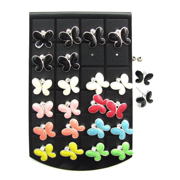 Обеци метал цветни с кристал пеперуда 15 мм