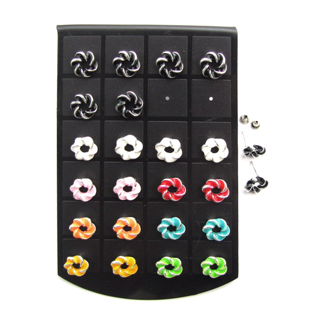 Обеци метал цветни кръгла 12 мм