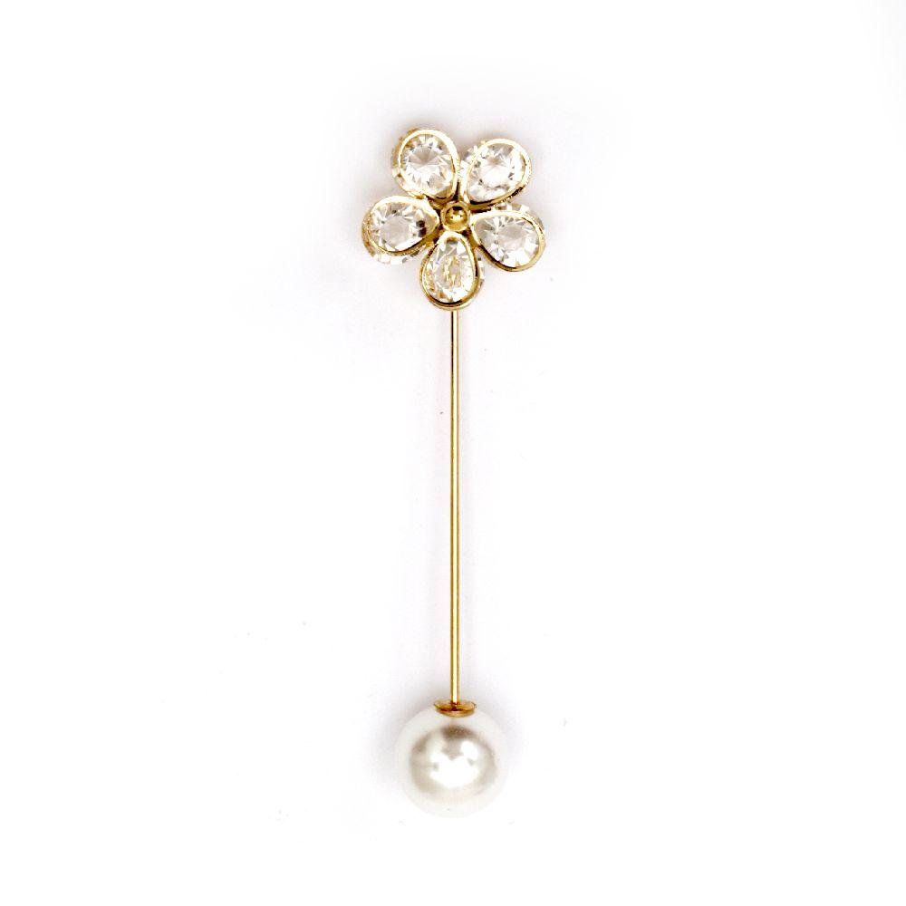 Брошка игла метал с кристали 75x20 мм цвят злато цвете накрайник перла