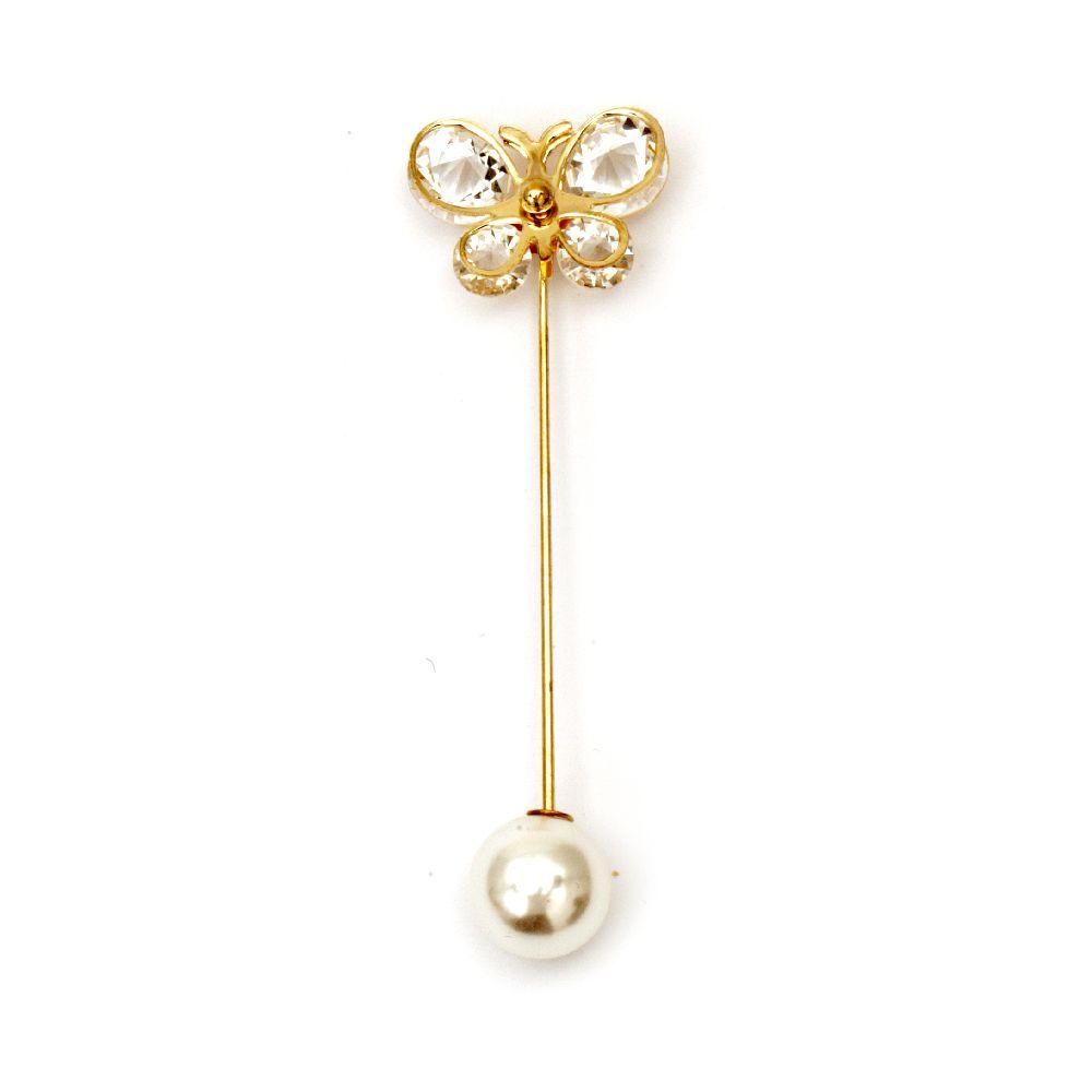Brosa ac metalic cu cristale 75x25 mm culoare auriu vârf fluture perla