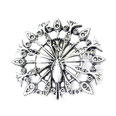 Broșă metal păun 43x46 mm culoare argintiu