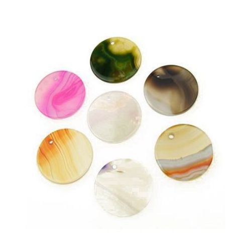 Agate natural stone charm, coin shape assorted colors 30x2 mm