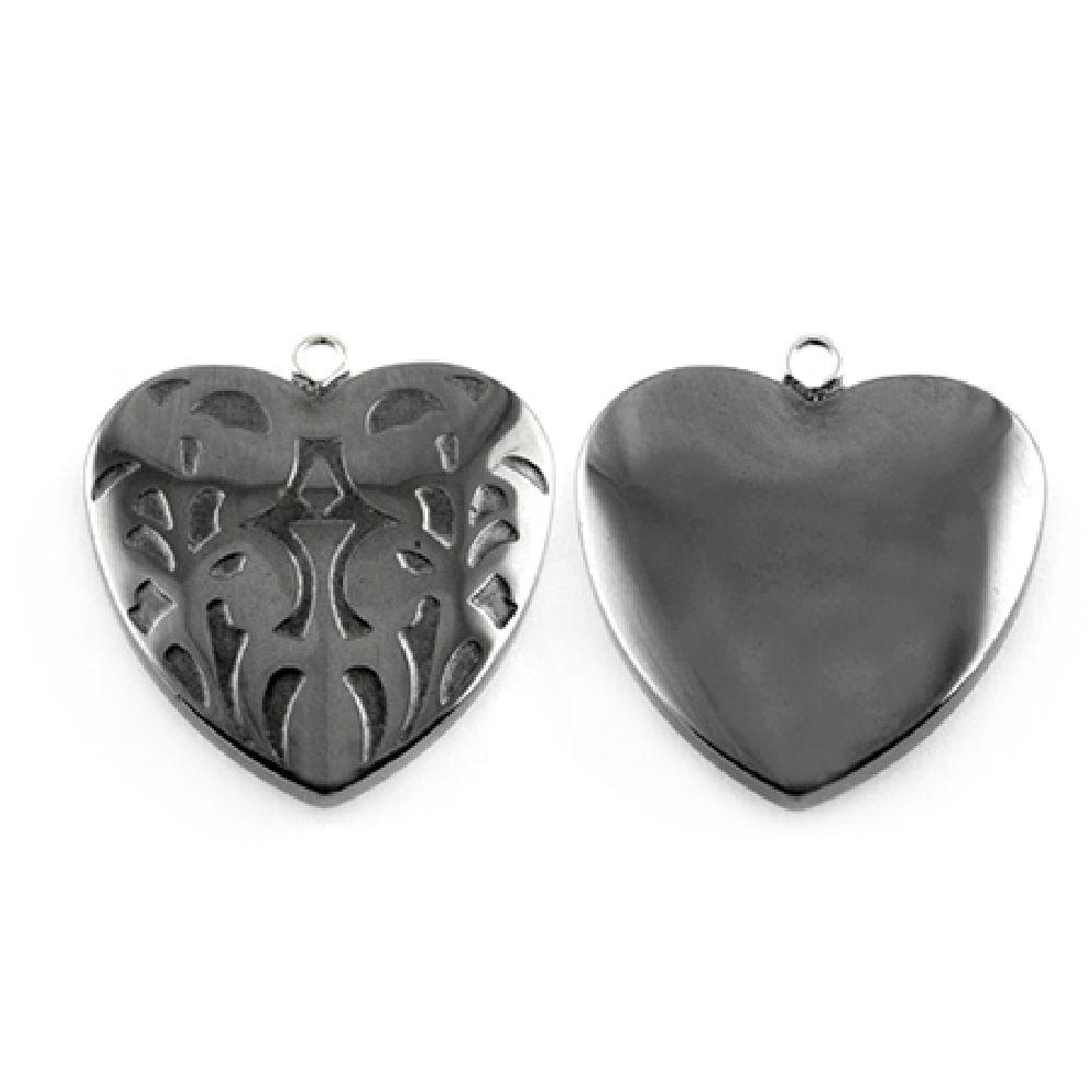 Αιματίτης καρδιά ημιπολύτιμη κρεμαστό  25x25x7 mm τρύπα 1 mm