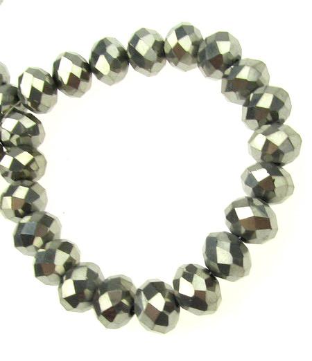 Наниз мъниста кристал 8x6 мм дупка 1 мм галванизиран графит ~72 броя