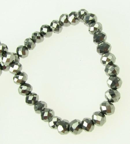 Наниз мъниста кристал 4x3 мм дупка 1 мм галванизиран сребро тъмно ~100 броя