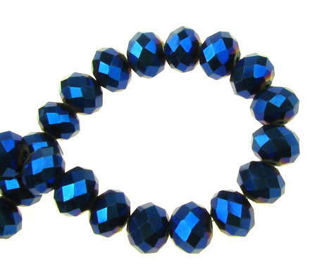 Наниз мъниста кристал 10x7 мм дупка 1 мм галванизиран син ~72 броя