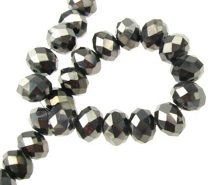 Наниз мъниста кристал 12x8 мм дупка 1 мм галванизиран ДЪГА графит ~72 броя