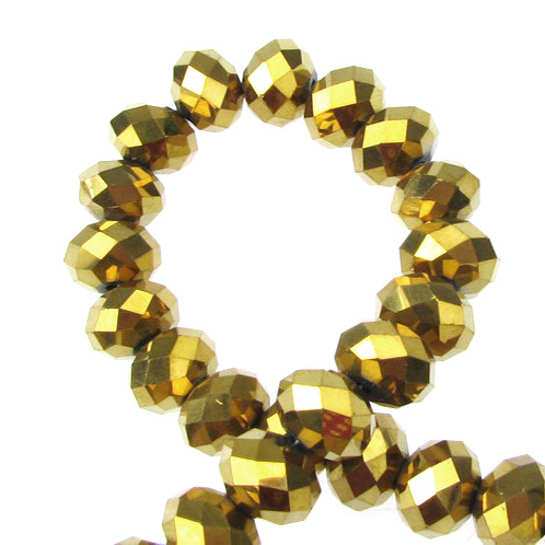 Наниз мъниста кристал 12x8 мм дупка 1 мм галванизиран златна сянка ~72 броя