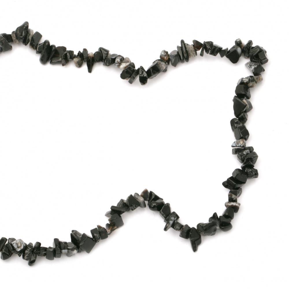 Наниз естествени камъни чипс 5-7 мм ~90 см ОБСИДИАН микс