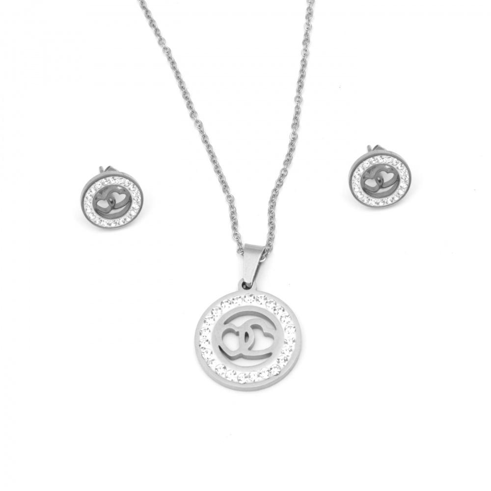 Комплект гердан и обеци стомана с кристали сърца