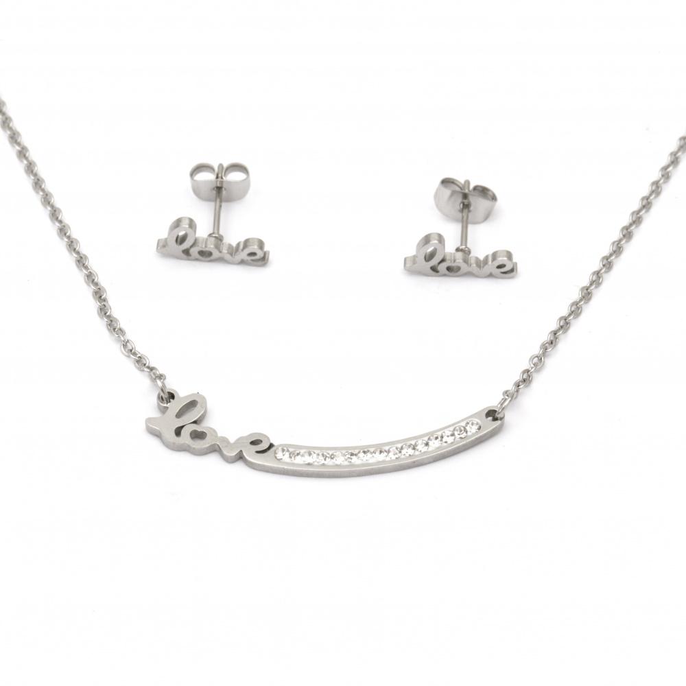 Set de cercei din colier și oțel cu cristale LOVE