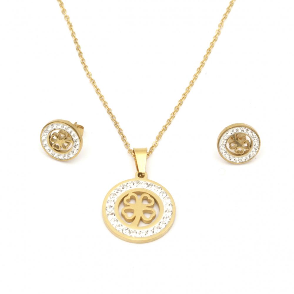 Комплект гердан и обеци стомана с кристали цвят злато детелина