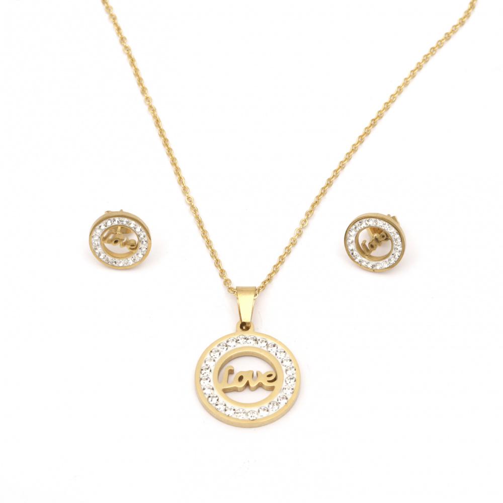 Комплект гердан и обеци стомана с кристали цвят злато LOVE
