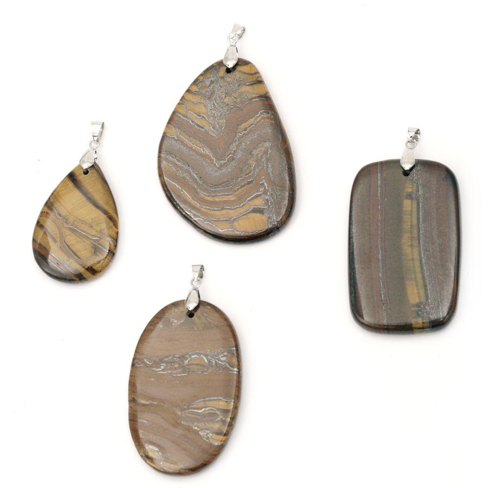 Κρεμαστό ημιπολύτιμη πέτρα TIGER'S EYE 35 ~ 50x50 ~ 70 mm διάφορα χρώματα / σχέδια