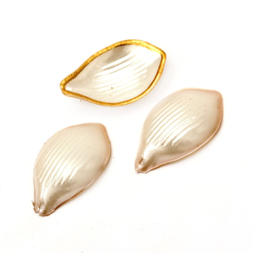 Pendant mother of pearl leaf 25x16x5 mm hole 1.5 mm - 20 grams ~ 73 pieces