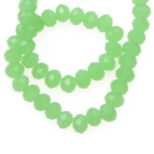 Χάντρα πολύπλευρη 6x4 mm τρύπα 1 mm απομίμηση jadeite πράσινο ± 100 τεμάχια