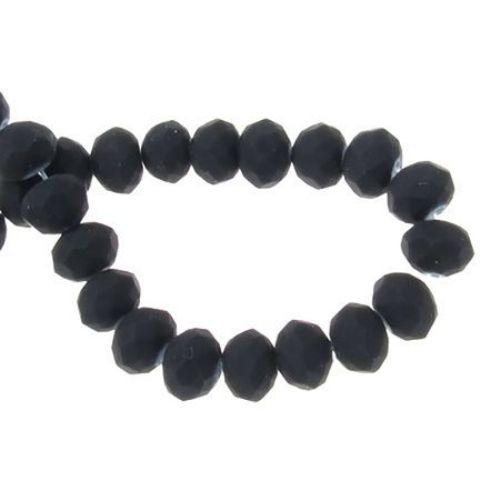 Наниз мъниста кристал 8x5 мм дупка 1 мм черен матиран ~145 броя