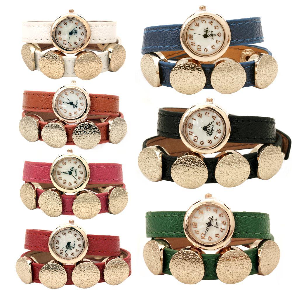 Часовник естествена кожа метал цвят злато 390x13 мм АСОРТЕ