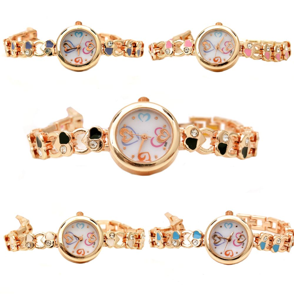 Часовник метал цвят злато кристали 16.5 см сърца АСОРТЕ