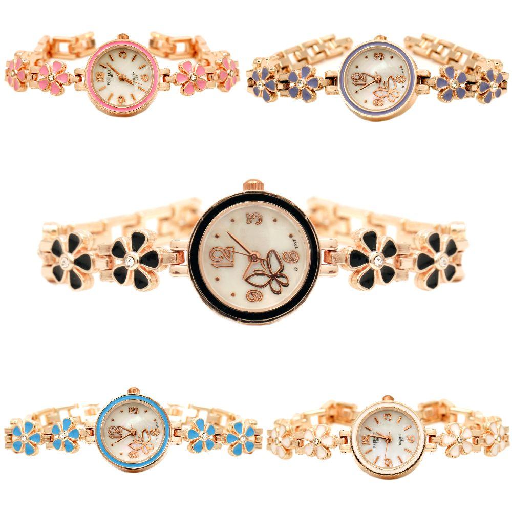 Часовник метал цвят злато кристали 17.5 см цветя АСОРТЕ