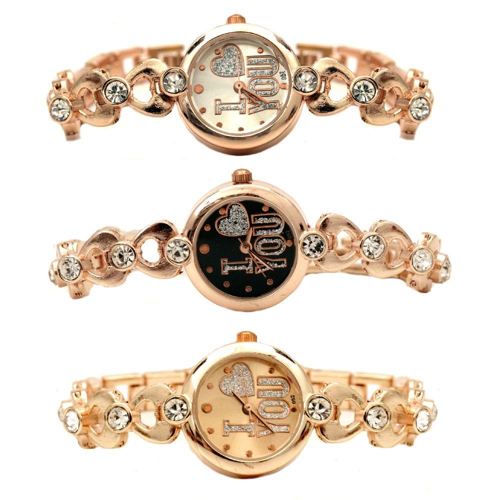 Часовник метал цвят злато кристали 17.5 см сърца АСОРТЕ