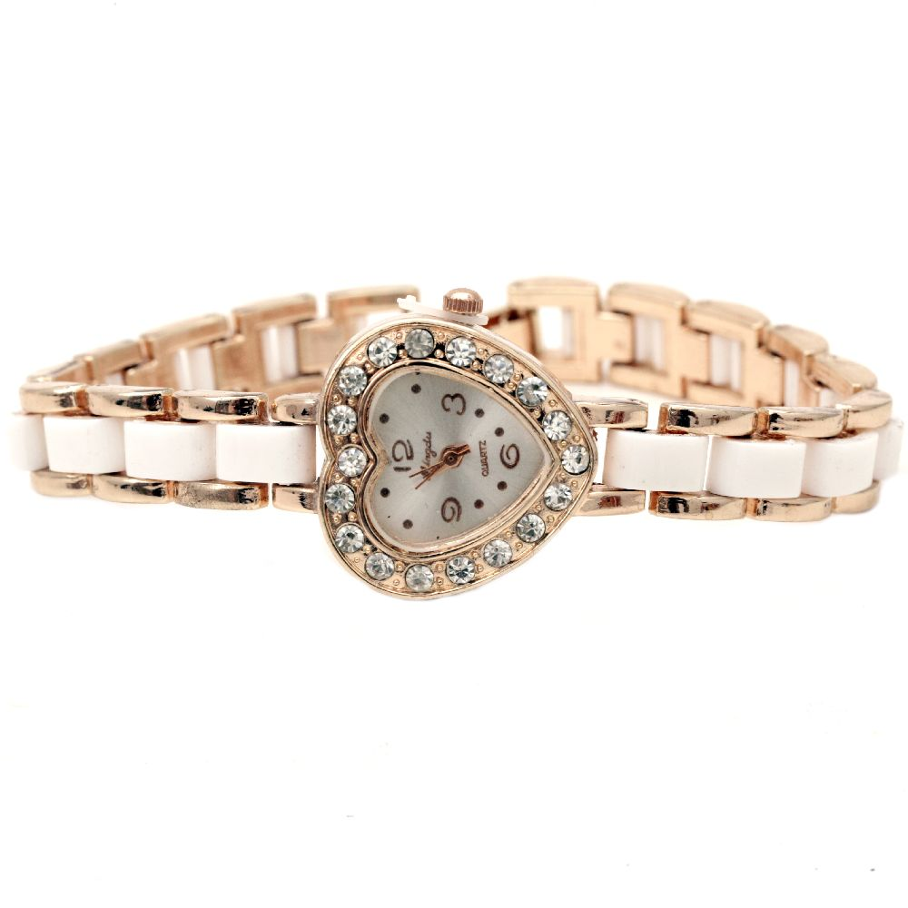 Часовник метал цвят злато кристали 18.5 см бял