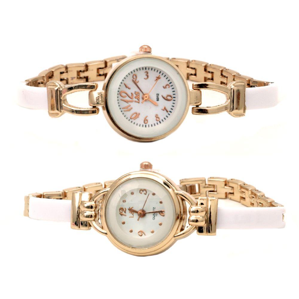 Часовник метал цвят злато 19 см бял