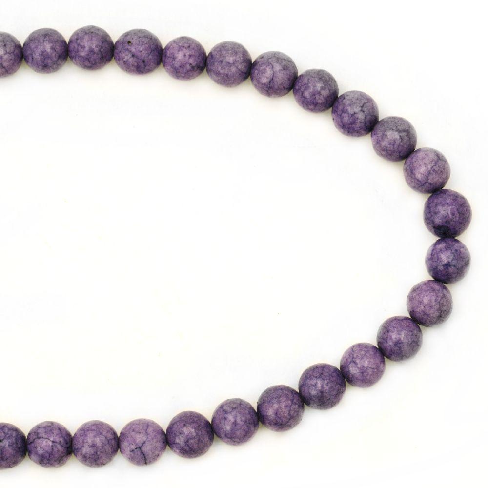 Гердан естествен камък ТЮРКОАЗ синтетичен лилав топче 8 мм -22 см