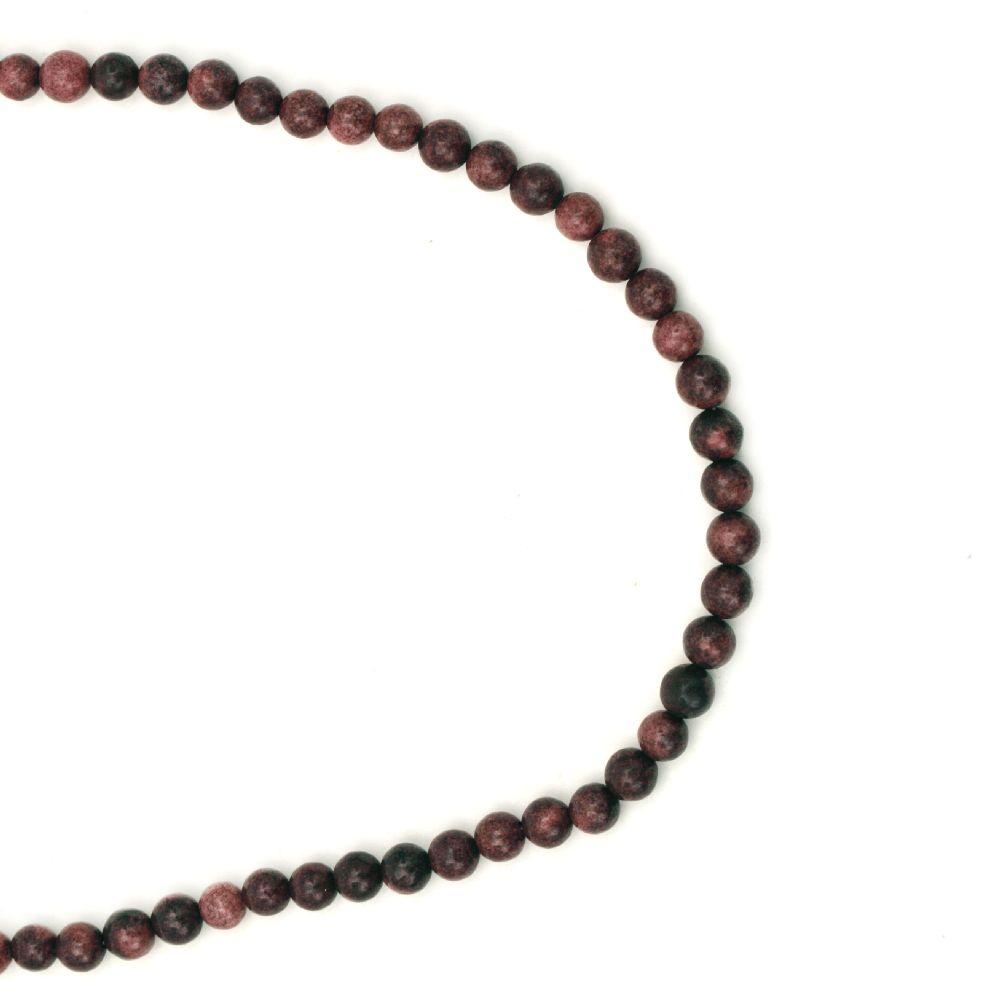 Гердан естествен камък АХАТ синтетичен червен топче 6 мм -22 см