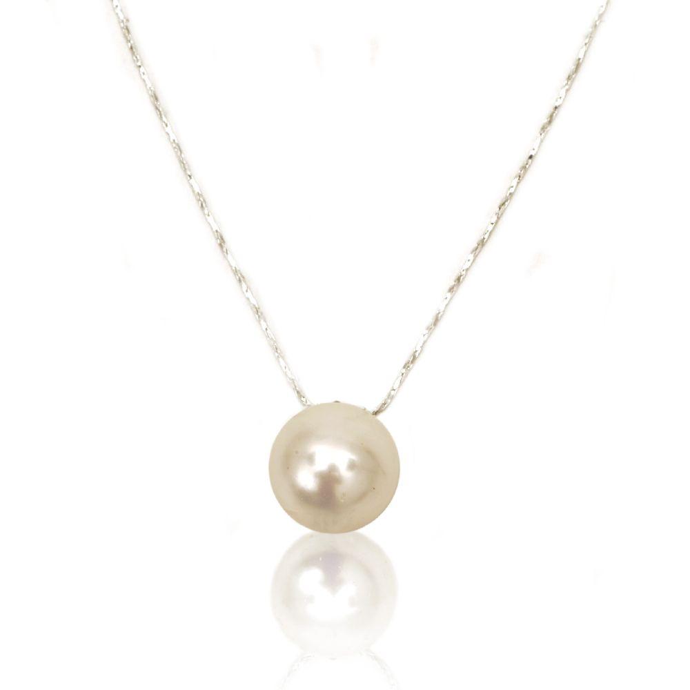 Гердан метал перла стълена 16 мм бяла -21 см