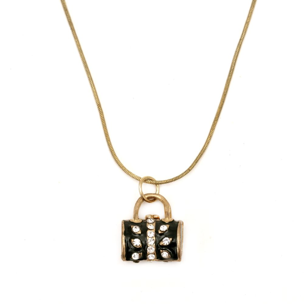 Гердан метал с кристали цвят злато 20 см