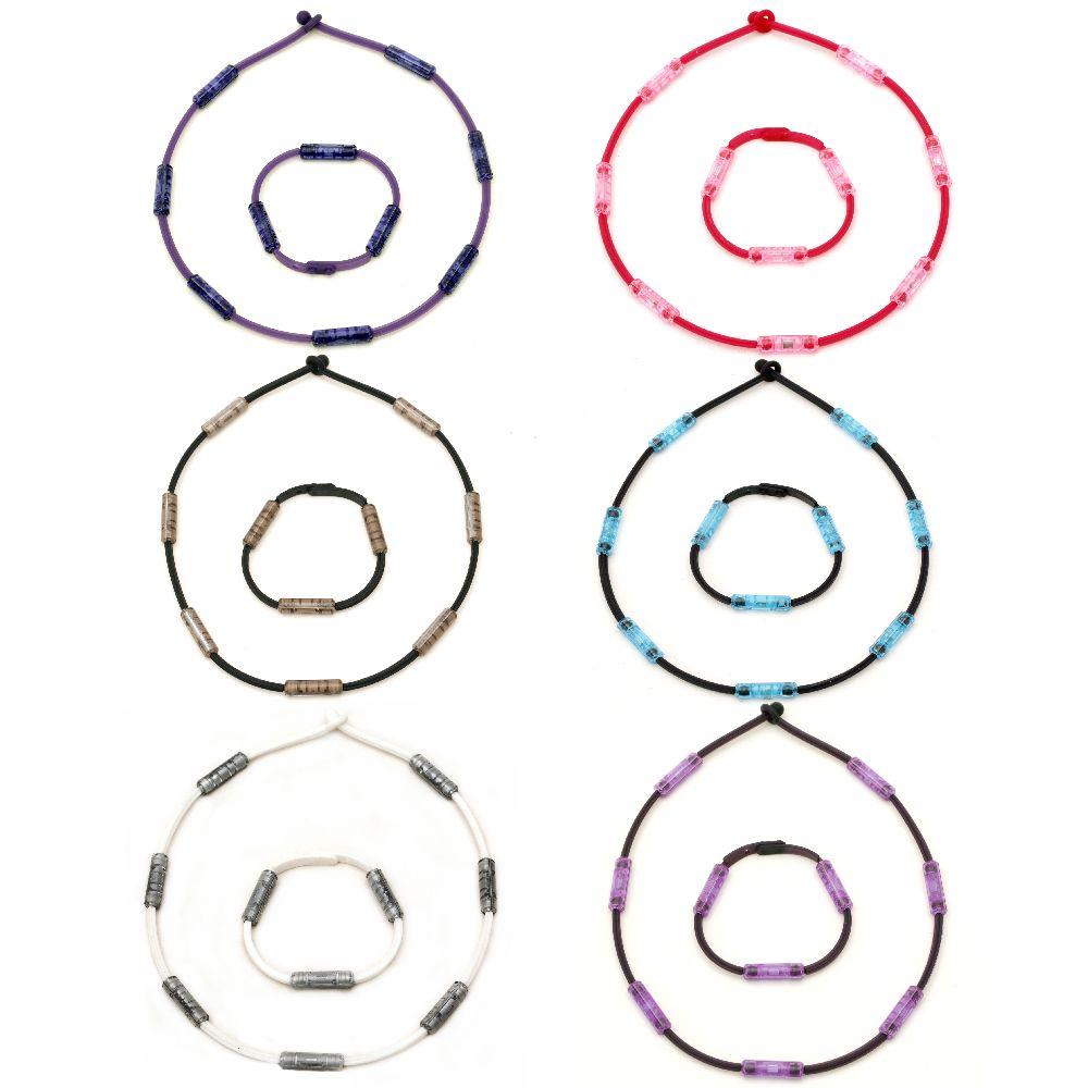 Комплект гривна и гердан силикон пластмаса естествен камък ХЕМАТИТ магнитен