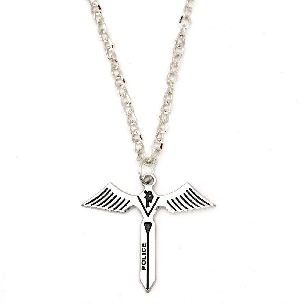 Гердан метал цвят сребро кръст 46 мм 29 см