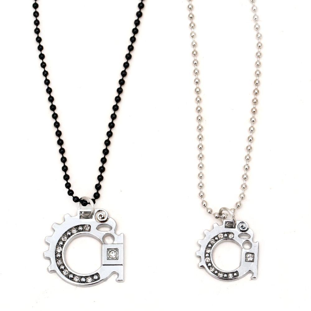 Colier culoare metal argintiu și cristale negre -2 bucăți 27 cm 29 cm