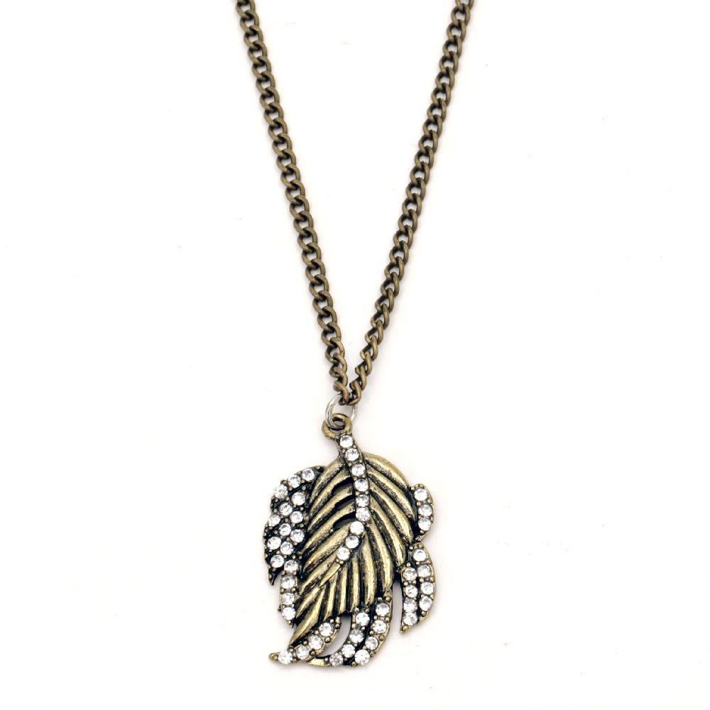 Гердан метал цвят античен бронз кристали листо 42 мм 30 см