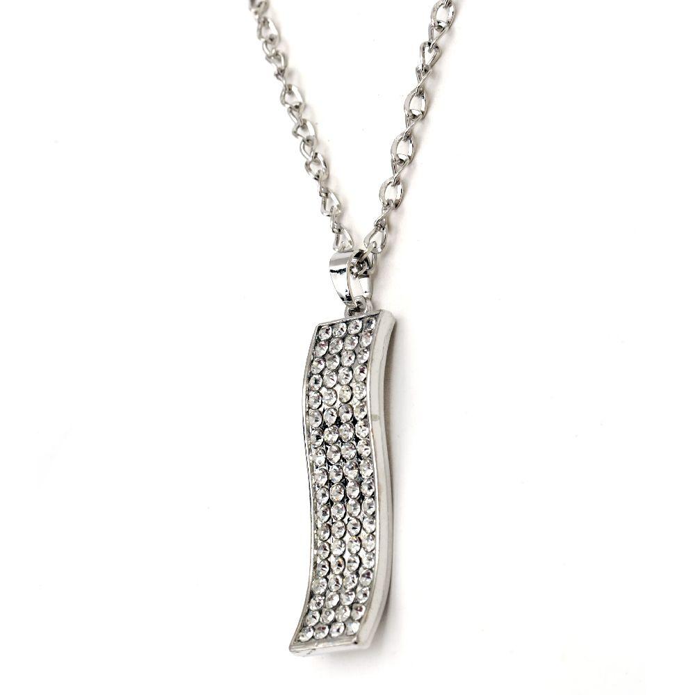 Гердан метал цвят сребро кристали висулка 67x17 мм 41 см