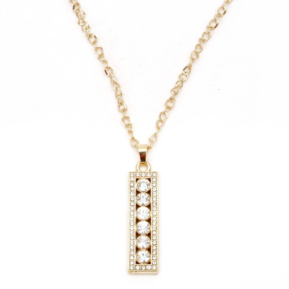 Colier colier metalic cristal auriu pandantiv 60x16 mm 41 cm