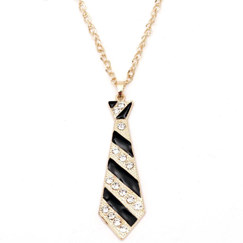 Гердан метал цвят злато кристали вратовръзка 90x25 мм 44 см