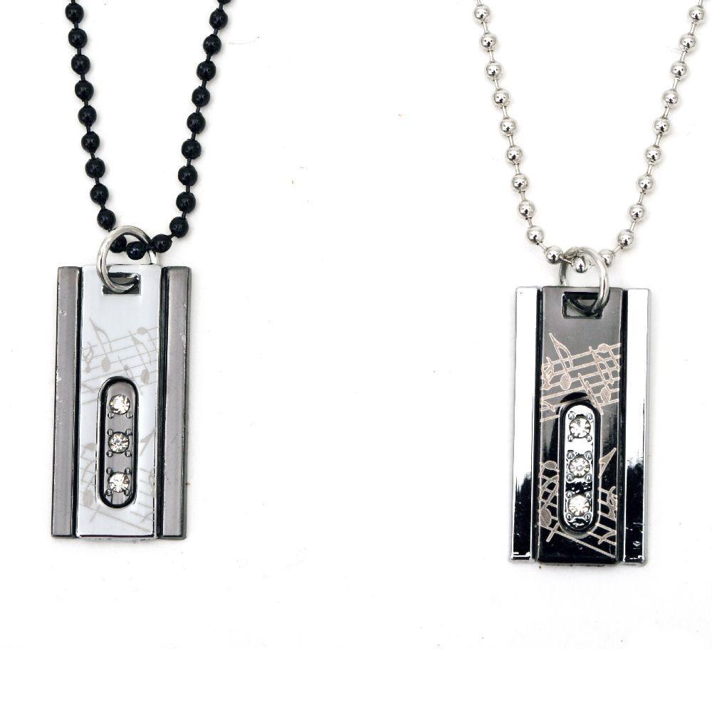 Гердан метал цвят сребро и черен кристали -2 броя 28 см 30 см