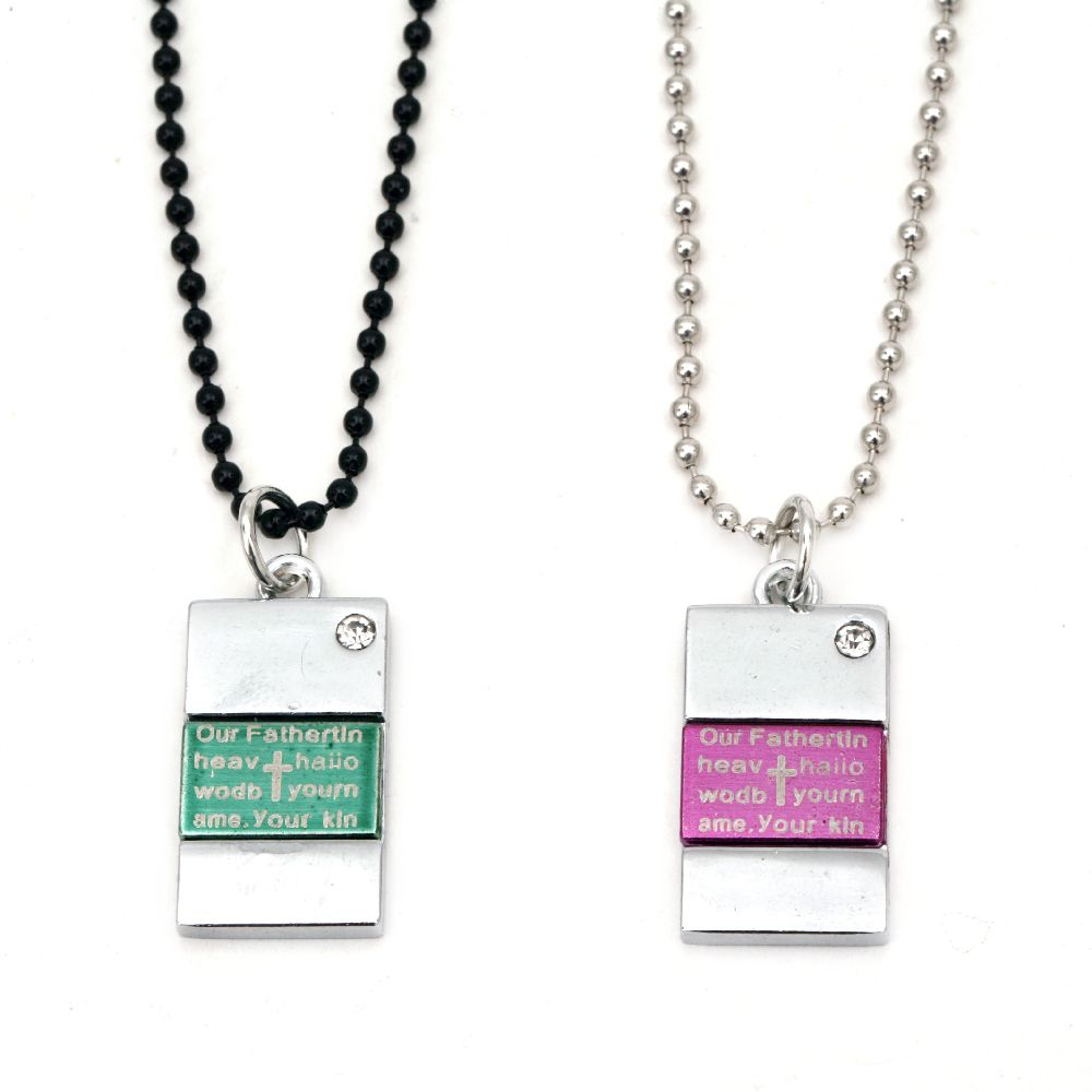Гердан метал цвят сребро и черен кристал -2 броя 28 см 30 см
