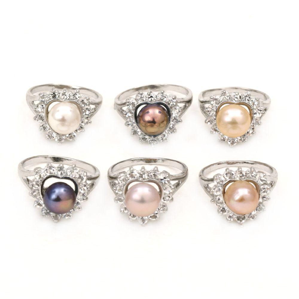 Пръстен метал естествена перла кристали АСОРТЕ