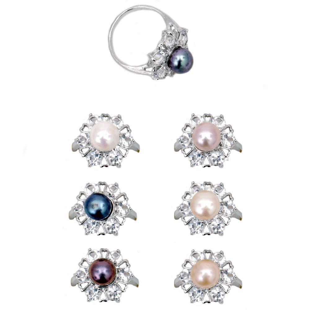Cristal inel metalic de perle naturale ASORTATE